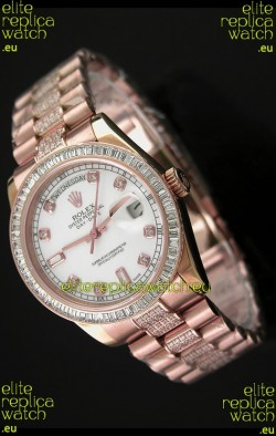 Rolex Oyster Perpetual Day Date Japanese Rose Gold Automatic Watch in Diamond Markers