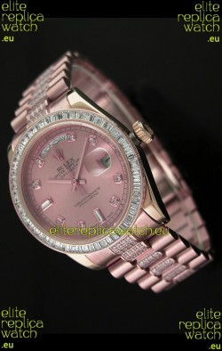 Rolex Oyster Perpetual Day Date Japanese Rose Gold Automatic Watch in Rose Gold Dial