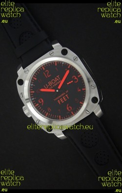 U-Boat Thousands of Feet Swiss Steel Automatic Watch in Red Markers