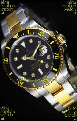 Rolex Submariner Swiss Watch in Black Dial Diamonds Hour Markers