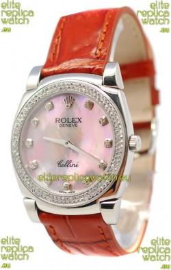 Rolex Cellini Cestello Ladies Swiss Watch Pink Pearl Diamonds Bezel and Hours Markers