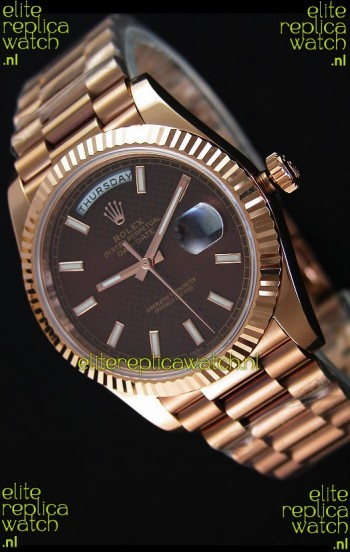 Rolex Day-Date 40MM Rose Gold in Brown Textured Dial Stick Markers